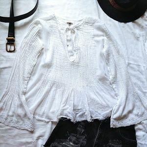 Ecote Bell Sleeve Fringe White Cotton Boho Top
